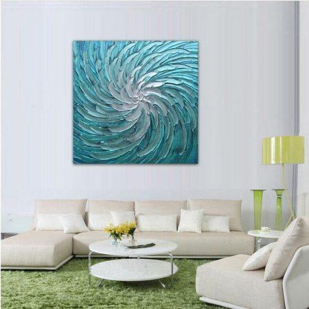 Hand Painted Spiral Blue Painting - DrunkArtist