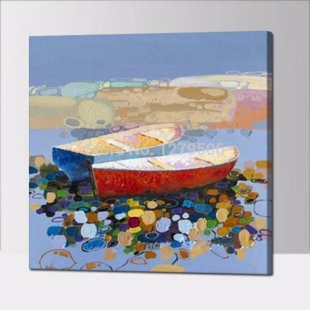 Hand Painted Abstract Boat Seascape - DrunkArtist