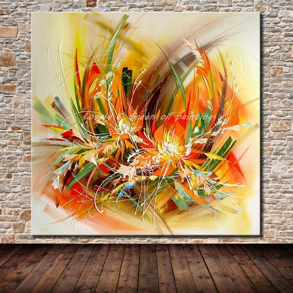 Hand Painted Abstract Yellow Flowers - DrunkArtist