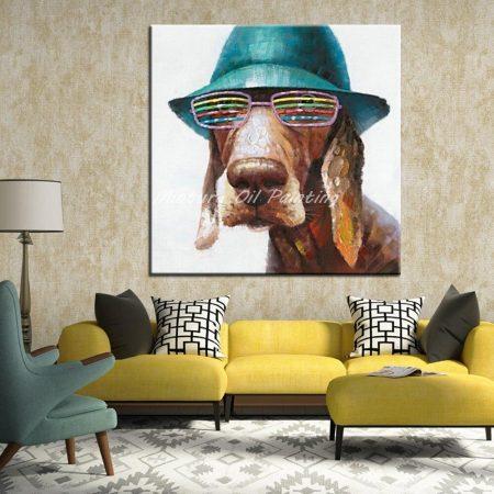 Hand Painted Glasses Cap Dog - DrunkArtist
