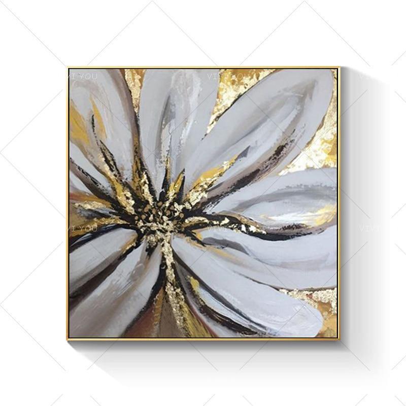 Hand Painted Golden GrayFlower - DrunkArtist
