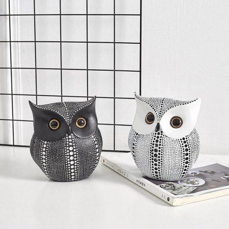 Black and White Resin Owl - DrunkArtist