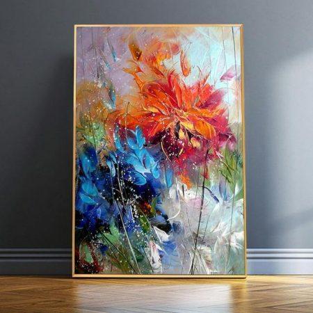 Blue And Orange Flowers - DrunkArtist