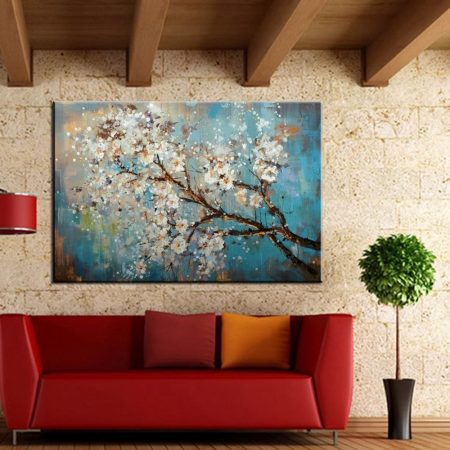 Hand Painted Blooming Tree Canvas Art - DrunkArtist