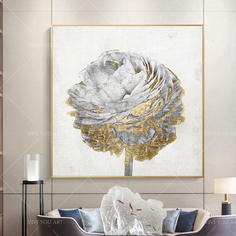 Handpainted Gold Foil Rose - DrunkArtist