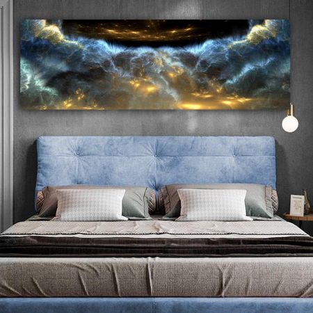 Blue And Yellow Clouds Abstract Canvas Art - DrunkArtist