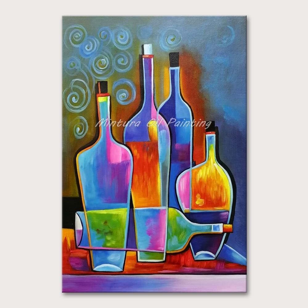 HandPainted Abstract Wine Bottles - DrunkArtist