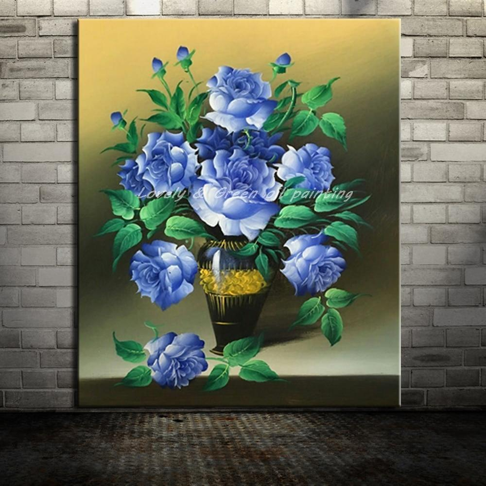 HandPainted Blue Rose Flower - DrunkArtist