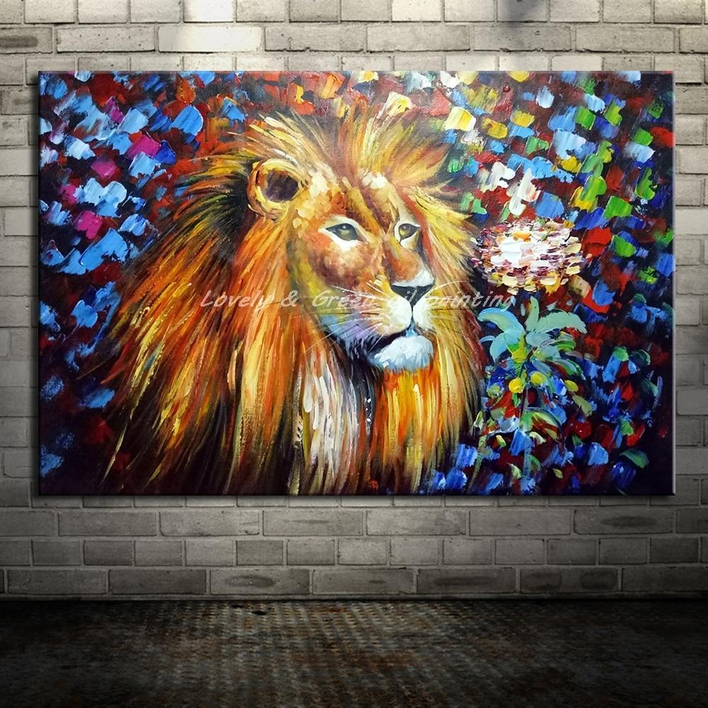 Handpainted Colorful Lion Head - DrunkArtist