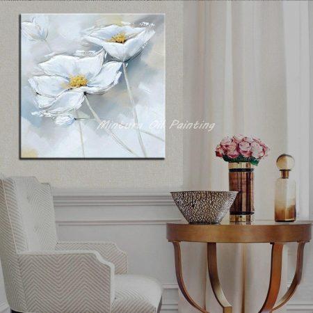 Hand Painted Bloomed White Flower Canvas Art - DrunkArtist