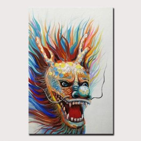 Hand Painted Festive Dragon Head Canvas Art - DrunkArtist
