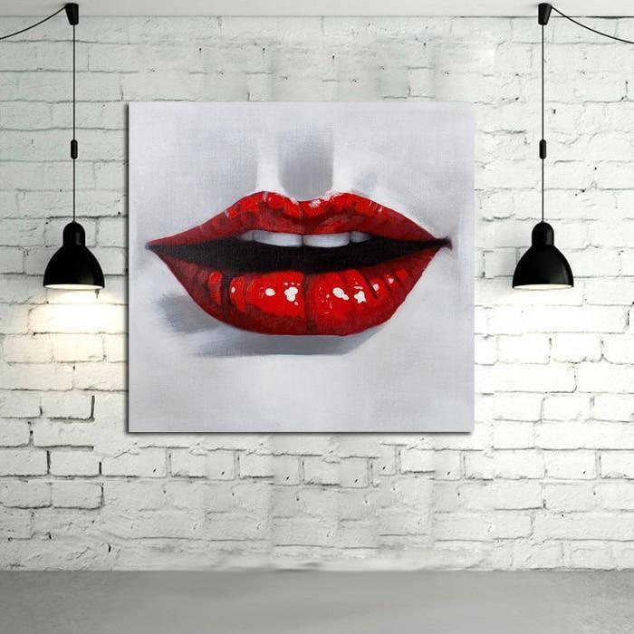Red Lips Handpainted - DrunkArtist
