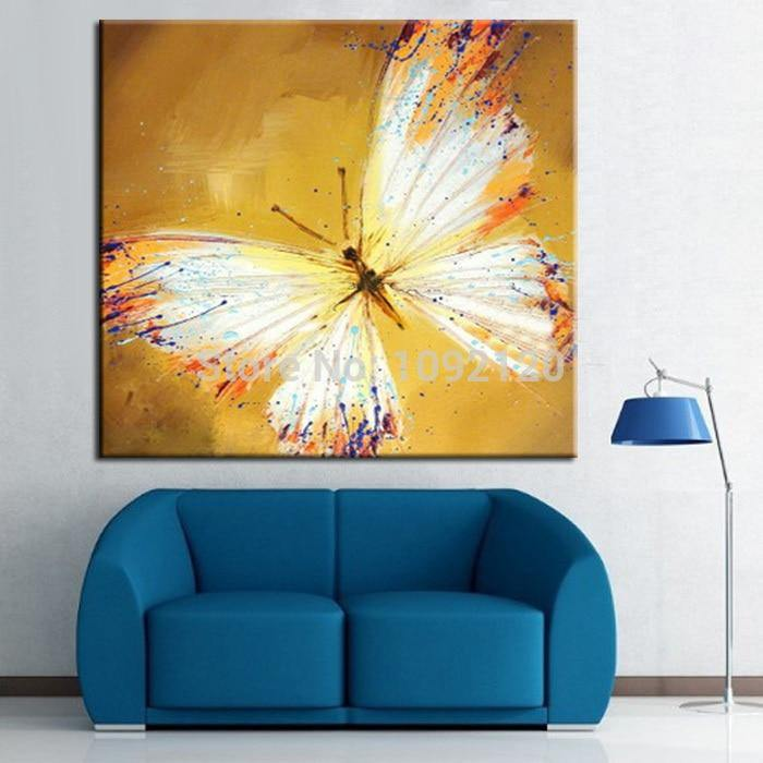 Handpainted Yellow Butterfly - DrunkArtist