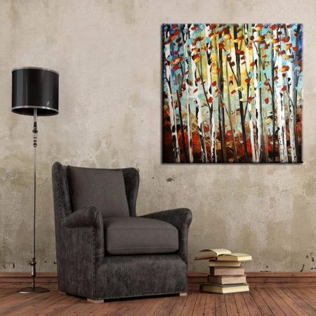 Birch Trees Oil Painting - DrunkArtist